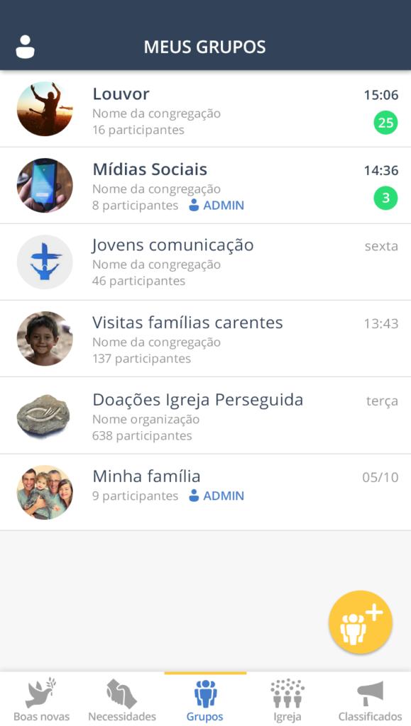 criando grupos no aplicativo